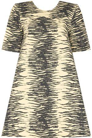 Ganni Women Printed Dresses - Open back tiger print dress