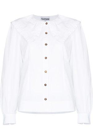 Ganni Women Blouses - Bib-collar organic cotton blouse