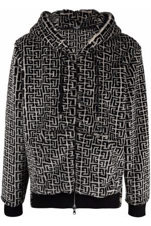 Balmain Men Hoodies - Monogram-pattern zip-fastening hoodie
