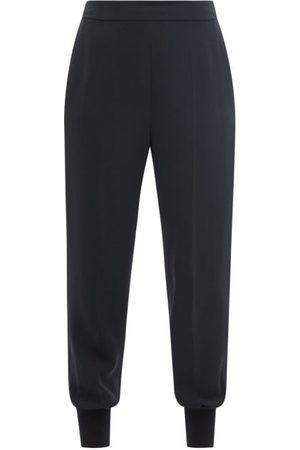 Stella Mccartney Julia Elasticated-cuff Cady Trousers - Womens - Navy