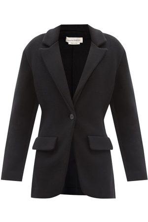 Alexander Mcqueen Knitted Wool-blend Single-breasted Blazer - Womens