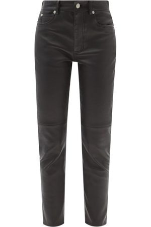 Alexander McQueen Mid-rise Leather Slim-leg Trousers - Womens