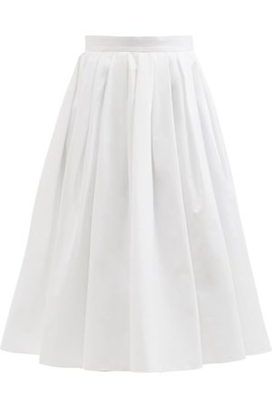 Alexander McQueen Women Midi Skirts - Pleated Cotton Circle Skirt - Womens