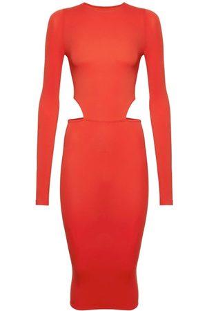 Wolford X Amina Muaddi Cutout Long-sleeve Jersey Dress - Womens