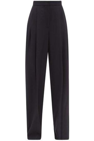 Alexander McQueen Women Wide Leg Pants - Pleated Wool-blend Twill Wide-leg Trousers - Womens - Navy