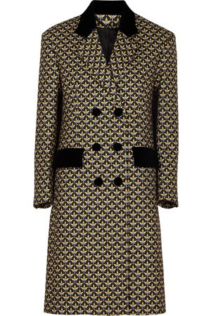 Paco rabanne Printed double-breasted flannel coat