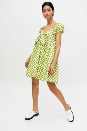 En Saison Women Party Dresses - Checkered Babydoll Mini Dress