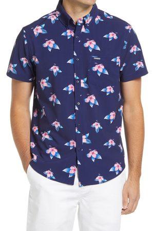 Vintage Summer Men's Floral Print Short Sleeve Button-Down Shirt