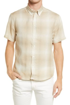 BILLY REID Men's Murphy Check Short Sleeve Linen Button-Down Shirt