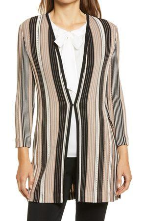 Ming Wang Women's Vertical Stripe Pointelle Knit Jacket