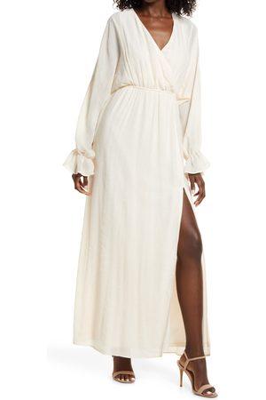 Lulus Women Long sleeves - Women's Heart's Whim Long Sleeve Faux Wrap Dress