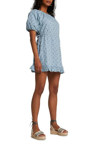 River Island Women's Lace Broderie Puff Sleeve Cotton Dress