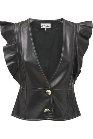 Ganni Women Gilets - Ruffled Leather Vest