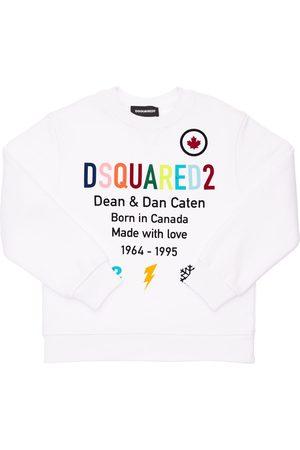 Dsquared2 Boys Sweatshirts - Flocked & Printed Cotton Sweatshirt