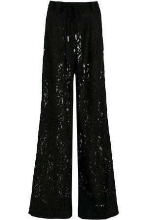 Andrea Bogosian Women Wide Leg Pants - Floral-lace flared trousers