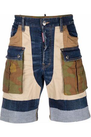 Dsquared2 Men Shorts - Panelled cargo denim shorts