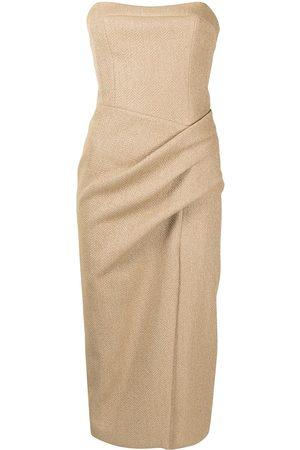 MANNING CARTELL Ruched off-shoulder midi dress - Neutrals
