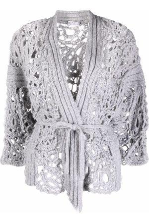 Brunello Cucinelli Crochet-design long-sleeve cardigan - Grey