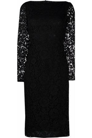 VALENTINO Lace-overlay mid-length dress