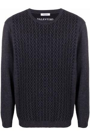 Valentino Intarsia-knit logo jumper - Grey