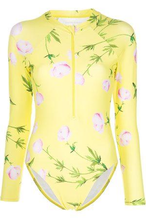 Cynthia Rowley Hali floral-print longsleeved surfsuit