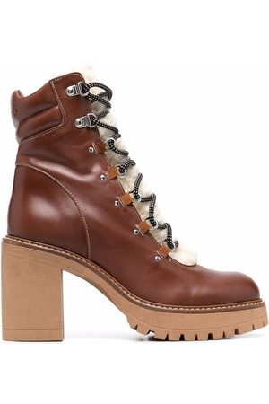 Pinko Women Ankle Boots - Shearling lace-up ankle boots