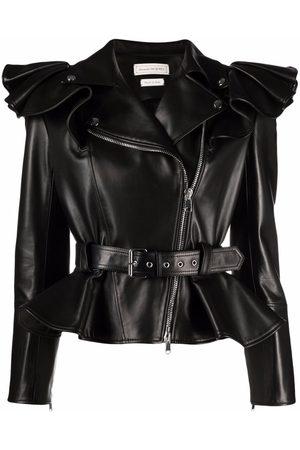 Alexander McQueen Women Leather Jackets - Ruffle-shoulder biker jacket