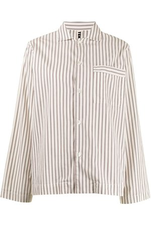 TEKLA Striped poplin pajama shirt