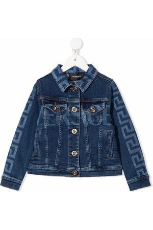 Versace Kids Greco-print buttoned denim jacket