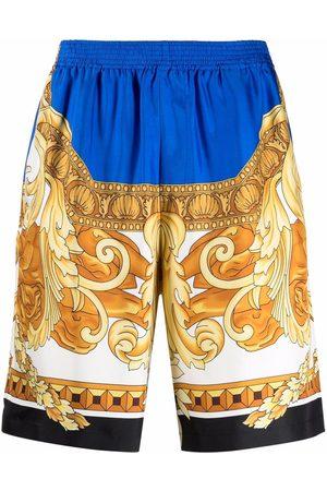 Versace Men Sports Shorts - Baroque-pattern knee-length shorts