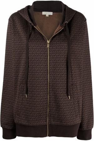 Michael Kors Women Hoodies - Monogram-print zip-up hoodie