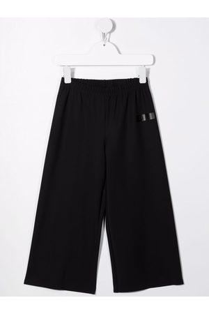 Il Gufo Girls Wide Leg Pants - Logo-print wide-leg trousers