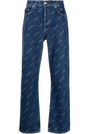 Sandro Diagonal logo-print straight leg jeans