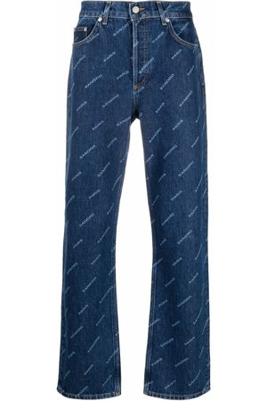 Sandro Paris Diagonal logo-print straight leg jeans