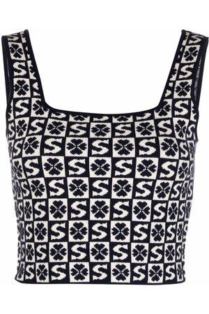 Sandro Paris Flambe intarsia knit crop top