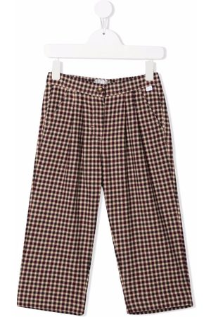 Il Gufo Check-print pleat-detail trousers - Neutrals