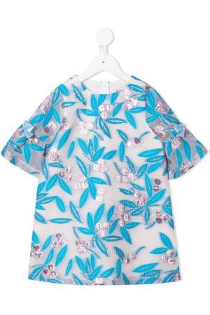 HUCKLEBONES LONDON Bell-sleeve organza mini dress