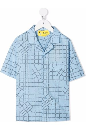 OFF-WHITE Boys Short sleeves - Logo-check short-sleeve shirt