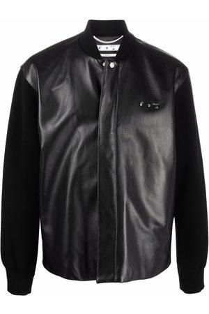 Off-White Hybrid leather bomber jacket