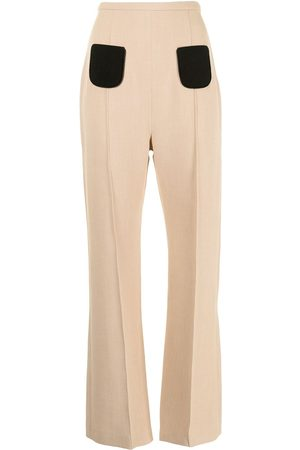 George Keburia Contrast-pocket straight trousers - Neutrals
