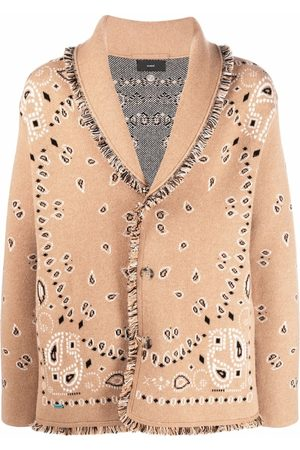 Alanui Bandana-pattern shawl-lapel cardigan - Neutrals