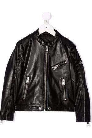 Diesel Kids Zip-up faux-leather jacket