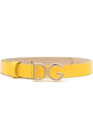 Dolce & Gabbana Kids TEEN logo-buckle leather belt