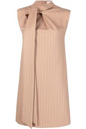 Msgm Women Dresses - Pinstripe pussybow-collar dress - Neutrals