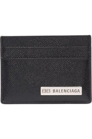 Balenciaga Logo-plaque textured-finish cardholder