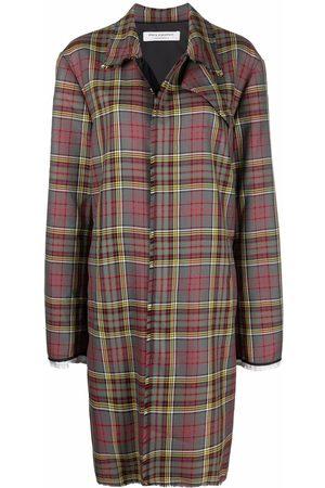Serafini Tartan-check wool coat - Grey