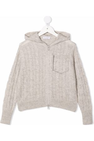 Brunello Cucinelli Kids Cable-knit hoodie - Grey
