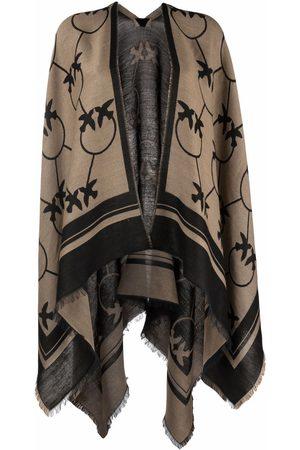 Pinko Monogram-print draped scarf - Neutrals