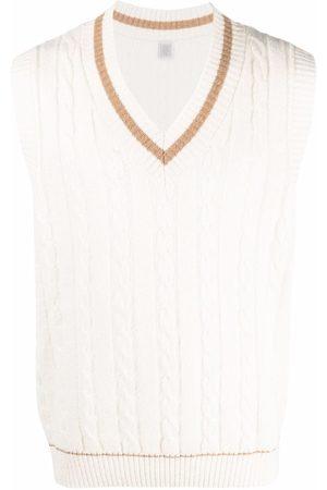 Eleventy V-neck cable-knit vest