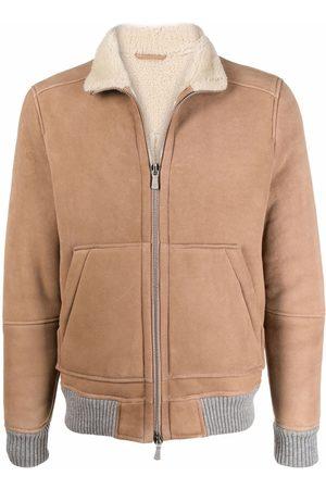 ELEVENTY Leather Jackets - Lambskin zipped jacket - Neutrals
